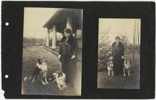 Mary Woolley spending time with two collies on the grounds of the President's House