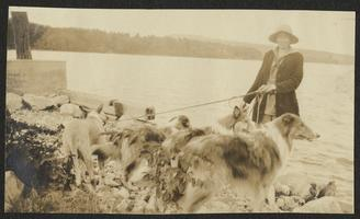 Jeannette Marks walking several dogs, including collies, along shore of Lake Champlain, Westport, New York