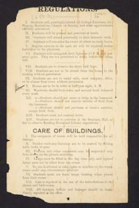 Sheet of regulations for Mount Holyoke students in the late 19th century