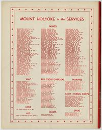 """Mount Holyoke in the Services,"" back cover of Mount Holyoke Alumnae Quarterly, November 1944 issue"