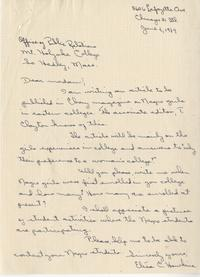 Letter written by Elise C. Hawkins to Mount Holyoke College Office of Public Relations, June 4, 1949