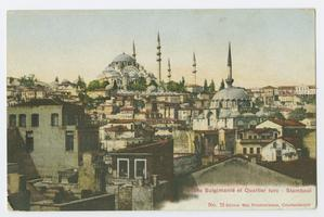 Postcard with view of Constantinople, showing the Süleymaniye Mosque in the distance, during the time of the Ely sisters' missionary work in Turkey