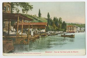 Postcard with view of houses and boat docks along the Bosphorus, Constantinople, during the time of the Ely sisters' missionary work in Turkey