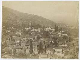 View of Bursa, Turkey, as it appeared during the time of the Ely sisters, looking across rooftops towards tombs and mosque