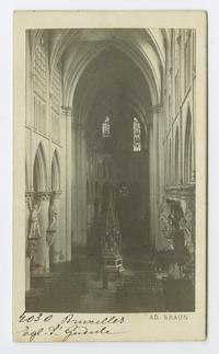 Interior view of Cathedral of St. Michael and St. Gudula in Brussels, Belgium, from the travels of Charlotte and Mary A. C. Ely, Class of 1861