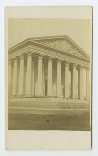 View of facade of La Madeleine in Paris, France, from the travels of Charlotte and Mary A. C. Ely, Class of 1861