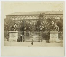 View of the gates of the Royal Palace of Naples, Italy, from the travels of Charlotte and Mary A. C. Ely, Class of 1861