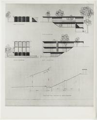 Eliot House, picture of north, south, east, and west elevations and section drawing through Amphitheater