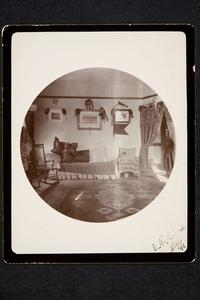 Mount Holyoke Seminary, main building, view of a student's room, probably that of Elizabeth Howell, Class of 1894