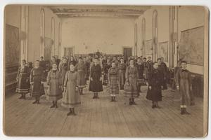 Seminary Building, east side, gymnasium, students in exercise class