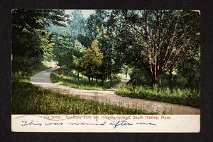 Postcard from Ethel to Eva Plumb, with view of drive in Goodnow Park, Prospect Hill