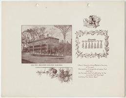 """Mt. Holyoke College Calendar 1899,"" December page picturing the old Mount Holyoke Seminary Building, which was destroyed by fire in 1896"