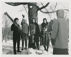 Students (l-r) Susan Higinbotham '62, Lynne Winans '62, Beatrice Epstine '60, and Linda Brandt '62 enjoying winter sports on campus