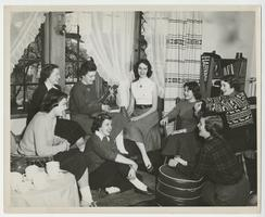 Eight students in a social gathering; front row, l-r, Carolyn Caldwell '54, Gloria D'Oench '53, and Ann Philpott '54; second row, l-r, Anna Catherine Brashear '54, Shelley Haertter '53, Myrna Mae Moman '53, Barbara Kerbey '52, and Lorene McCarthy '55
