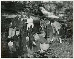 Zoology Prof. Ann Haven Morgan with students, collecting aquatic specimens from Stony Brook