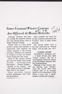Some Unusual Winter Courses Are Offered At Mount Holyoke, photocopy of news item about Winter Term which appeared in the Holyoke Transcript-Telegram