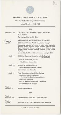 125th Anniversary Special Events 1962, Mount Holyoke College News Bureau