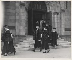 Faculty leaving Abbey Memorial Chapel