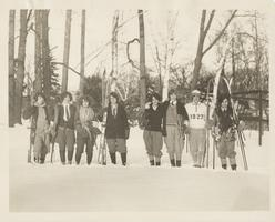 Group of Students Standing in the Snow with Snowshoes and Skis, ca. 1927