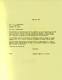 Letter from Virginia Apgar to Joan Dunkelberger