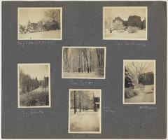 Snow-covered campus, with views of Mary Lyon Hall, the Library, the Shute, the Grove, Williston Hall, Snow Cottage, and College Street; page from album of Doris A. Melchert, Class of 1911