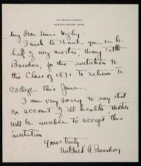 Letter from Mildred A. Bourdon '12 to Mary Higley '21, on behalf of her mother, Mary Tuttle Bourdon, Class of 1871