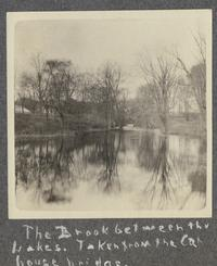 The Brook between the Lakes. Taken from the cat house bridge (Stony Brook), from album of Doris A. Melchert, Class of 1911