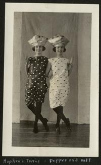 Hopkins Twins - pepper and salt, page from the album of Helen Smith, Class of 1925; depicts Mary and Sarah Hopkins, Class of 1923