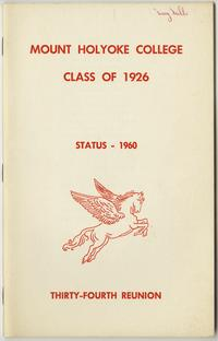 Class letter of the Class of 1926, for their 34th reunion, front cover with pegasus emblem