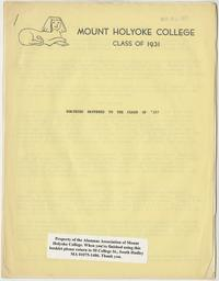 Class letter of the Class of 1931, for their 40th reunion, front cover with sphinx emblem