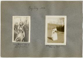 May Day pictures, l-r: Sara (Sally) Holmes, President of the Class of 1931 and one of the Queens; Catherine (Kitty) Emig, President of the Class of 1928 and May Queen; page from an album of the Class of 1932