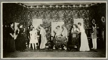 Students performing a play; page from an album of the Class of 1932