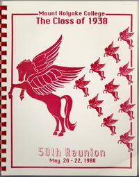 Class letter of the Class of 1938, for their 50th reunion, front cover with pegasus emblems