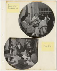Scenes of students having butterscotch toast at the Bookshop Inn and students practicing first aid skills, from Class of 1945 album
