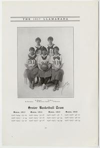 "The 1917 ""Llamarada,"" pages 33-34, showing the Senior (Class of 1916) Basketball Team, including Evelyn Keyes Davis (top right), and a scene from ""The Tempestuous Tale,"" also with Evelyn Davis, presented by the Senior Class on March 10, 1916"