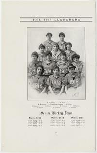 "The 1917 ""Llamarada,"" pages 32-31, showing the Senior Hockey Team, Class of 1916 (Senior) roster of officers, and picture of Evelyn Keyes Davis, Class President and hockey player"