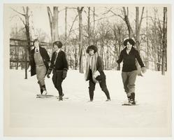 Helen Davis '25 (second from right) and three other students snowshoeing