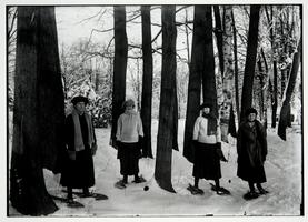 Students snowshoeing, l-r, Marion Nichols '23, Mildred Van Deusen '20, Anne Zueblin x'23, and Margaret Adriance '20, from a Kinney glass plate negative
