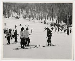Students in a skiing class on Pageant Field