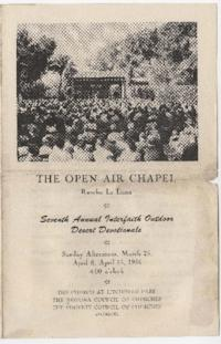 Program from an interfaith service at The Open Air Chapel, Rancho La Loma