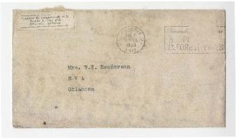 Letter, envelope, and fabric samples from Eleanor Henderson to Caroline Henderson