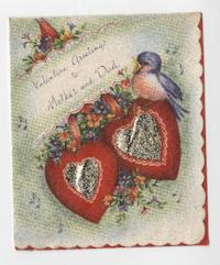 Valentine cards from Eleanor Henderson and David Grandstaff, to Caroline and W. E. Henderson
