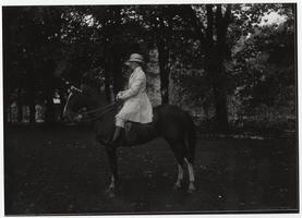 Miss Rogers on horse, from a Kinney glass plate negative