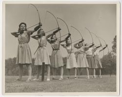 Students in archery class, l-r: Annabelle Teator x'44, Barbara Brown '44, Marion Kingston '43, Helen Johns '43, Virginia Loftus '44, Martha Montague '42, and Joan De Mott '43