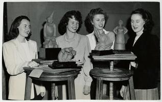 Winners of the Genesee Valley Mount Holyoke Club Sculpture Competition, l-r, Melissa Lord '49, Phyllis Thorpe '48, Charlotte Miller '49, and Catherine Nobbs '50