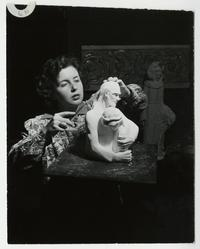 Fidelia Augur, Class of 1948, working on a sculpture