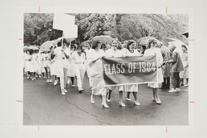 Members of the Class of 1984 walking in the Alumnae Parade at their second year reunion