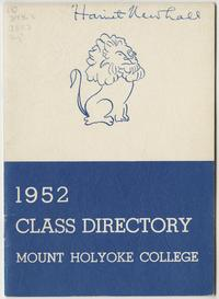 Class of 1952 Directory, with lion emblem