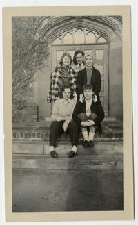 Group of students on the steps of South Mandelle Hall, including Marjorie (Marge) Marshall x51, Priscilla (Prill) Stein '50, Joan Redin '51, and Jennifer Pyne x51