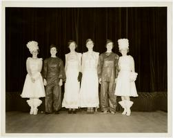 "Six juniors from the Class of 1936, as dancers in musical comedy ""Gone to the Cats,"" l-r, Eileen Tully, Muriel Johnson, Elizabeth Gray, Virginia Taylor, Elizabeth Ralph, and Cornelia Newton"